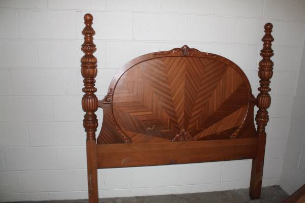 Antique Bedroom Set     $350   This set includes a headboard/footboard, wardrobe and vanity with mirror and stool.    View on Craigslist