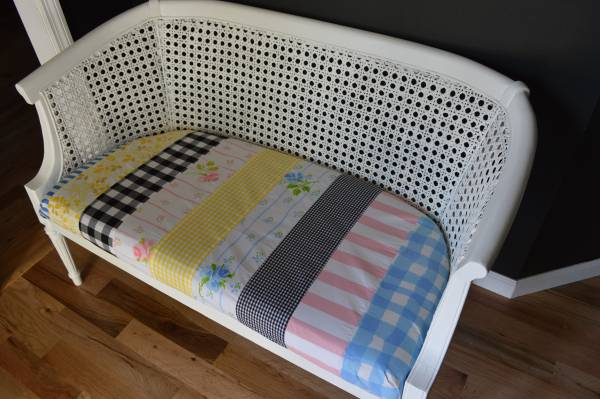 Cane Back Bench     $125   I really like this bench - its just needs some new fabric.    View on Craigslist