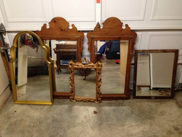 Mirrors     $20 each   This is a good assortment. I especially like the gold one on the left and the pair of wood framed mirrors.    View on Craigslist