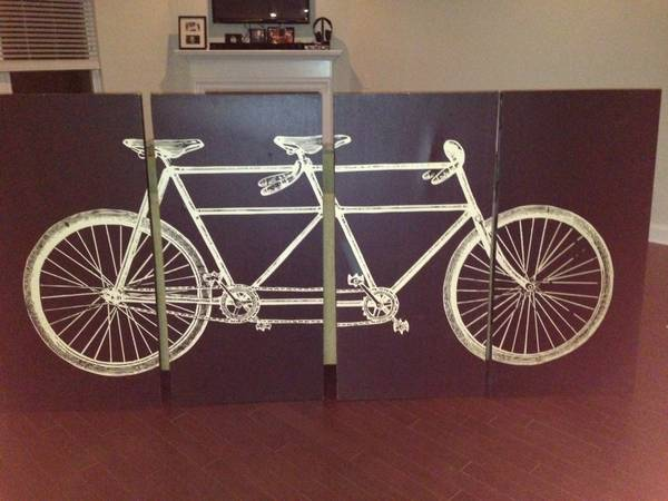 Bicycle Canvas Art     $225   This artwork retailed for $375 and sounds like the seller is open to offers.    View on Craigslist