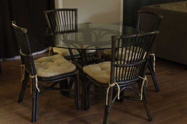 Table and Chairs     $125   I would paint the bamboo table base and chairs.     View on Craigslist