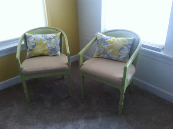 Vintage Faux Bamboo Side Chairs     $45   I really like these chairs - they need to be reupholstered and some paint.    See on Pinterest      View on Craigslist