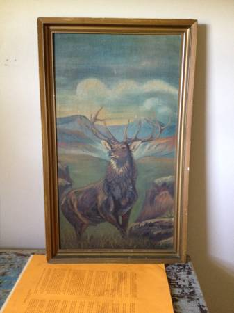 Vintage Elk Painting     $150   I love this elk painting - it has great vibe and would be perfect as a part of a gallery wall or on it's own.     View on Craigslist