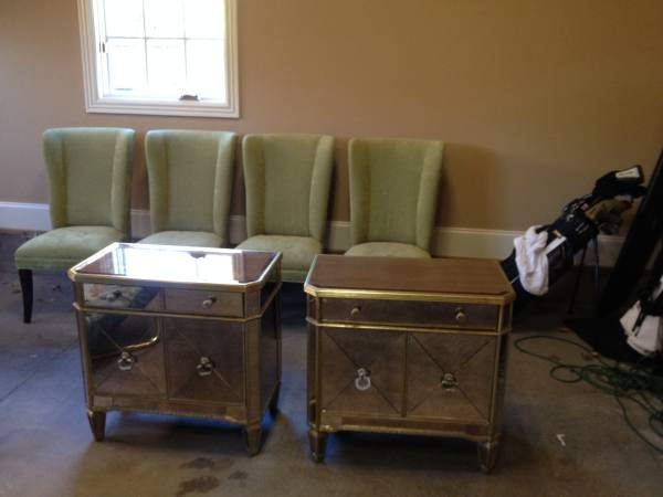 Pair of Z Gallerie End Tables     $500   These retail fro $599 at the store. They are also selling the 4 Mitchell Gold dining chairs in the photo (they are 4 for $450).    View on Craigslist
