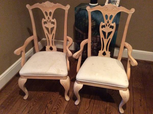 Pair of Accent Chairs     $125   These chairs would look good as the head chairs in a dining room - would be easy to recover and paint if needed.    View on Craigslist