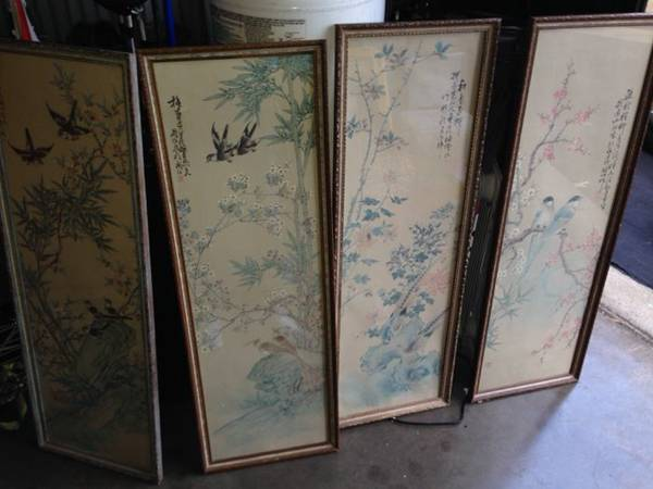 Set of  Asian Panels     $40   I love these panels, they have the same look as a vintage chinese screen but for a fraction of the price.They would be gorgeous in a living room or dining room.    See on Pinterest      View on Craigslist