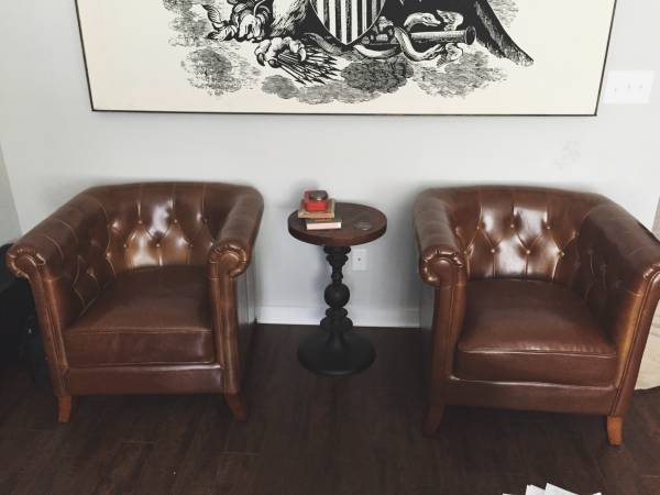 Pair of Tufted Leather Chairs     $1000     View on Craigslist