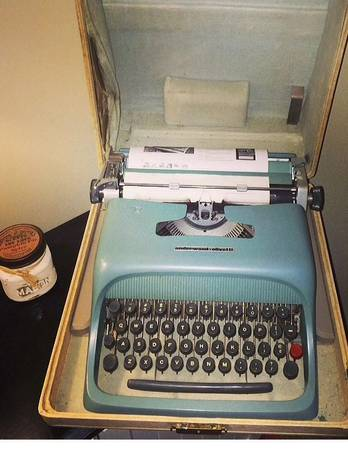 Vintage Typewriter     $40   I love the color of this vintage typewriter and it still works!    View on Craigslist