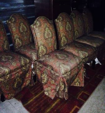 6 Dining Chairs     $150   I can't quite tell what this fabric is like from the photo but these chairs would look great reupholstered with a linen fabric.    See on Pinterest      View on Craigslist