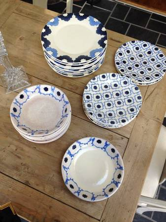 West Elm Blue and White Dishes     $80   This set is service for 8.    View on Craigslist