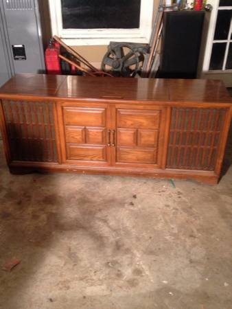 Vintage Record Console     $60   This would be a great piece to paint and repurpose.    View on Craigslist