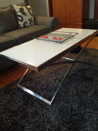 White Glass and Chrome Table Set     $200     View on Craigslist