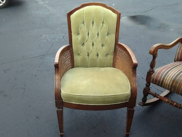 Vintage Cane Accent Chair     $15   This is a great deal for $15, would look great painted.    View on Craigslist