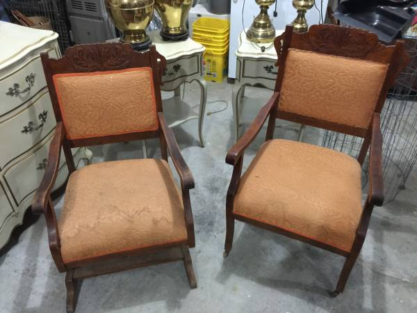 Antique Chair & Rocker     $50   These chairs just need some new fabric.      View on Craigslist