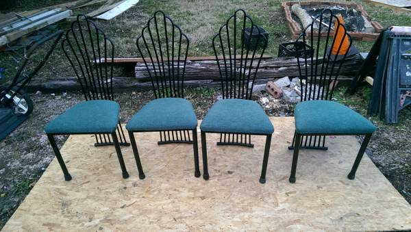 Set of 4 Dining Chairs     $40   These chairs are pretty funky but I think they'd pair nicely with a modern table. They just need the seats reupholstered.    View on Craigslist