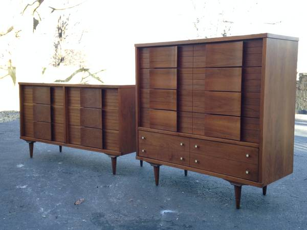 Mid Century Bedroom Furniture     $450   The tall dresser is $450 and the other is $550.    View on Craigslist