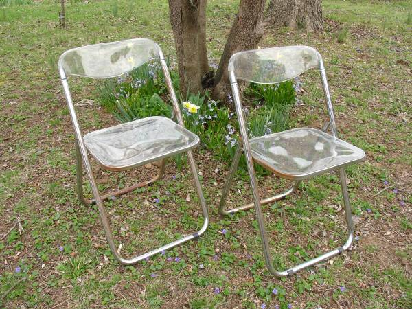 Pair of Vintage Lucite Folding Chairs     $60     View on Craigslist