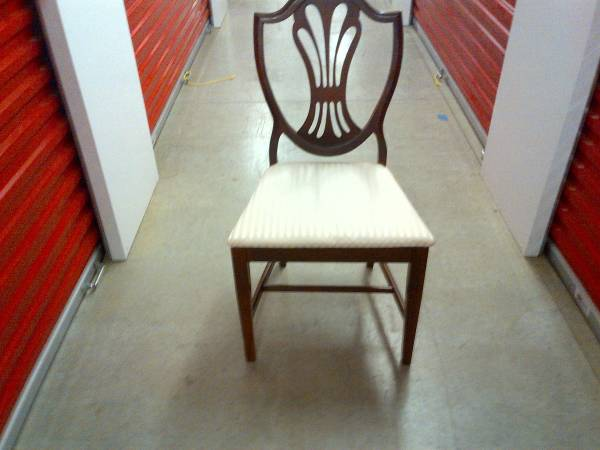 Set of 8 Dining Chairs     $250   I love shield back chairs. These look like they are in good condition - use as is or paint them to give them a more modern look.    See on Pinterest      View on Craigslist