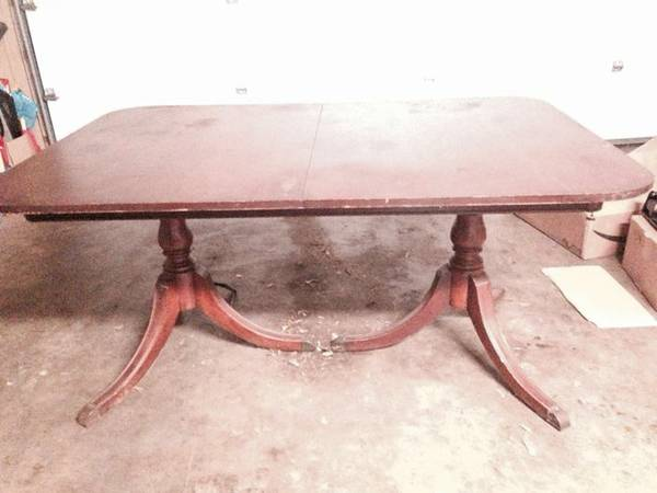 Dining Table with Leaf     $40   This is a great project piece, needs a coat of paint or refinishing.    View on Craigslist