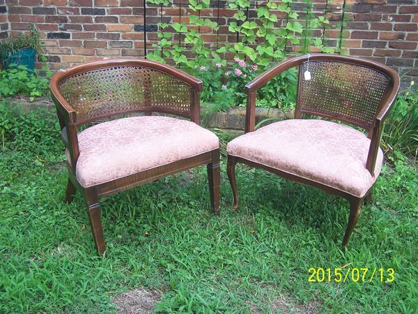 Cane Back Accent Chair     $30   This would look great painted and with new fabric.    View on Craigslist
