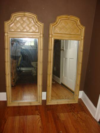 Pair of Faux Bamboo Mirrors     $90   I love the bamboo detail on these mirrors - leave as is or give them a coat of paint.    View on Craigslist