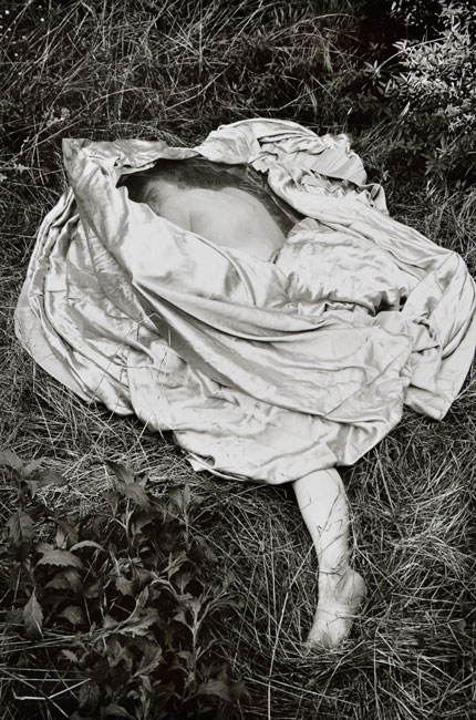 Untitled,  (Figure on Grass) from the  Early Black and White Portfolio , circa Early 1970's Gelatin Silver Print 14 x 11 inches