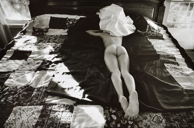 Untitled, (Nude on Patchwork Quilt) from the  Early Black and White Portfolio , circa Early 1970's Gelatin Silver Print  14 x 11 inches