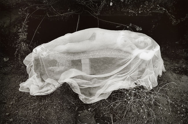 Untitled, (Nude Under Net) from the  Early Black and White Portfolio , circa Early 1970's Gelatin Silver Print  14 x 11 inches