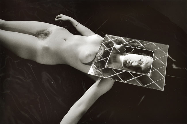 Untitled, (Nude's Face Under Glass Frame)  from the Early Black and White Portfolio , circa Early 1970's Gelatin Silver Print  14 x 11 inches
