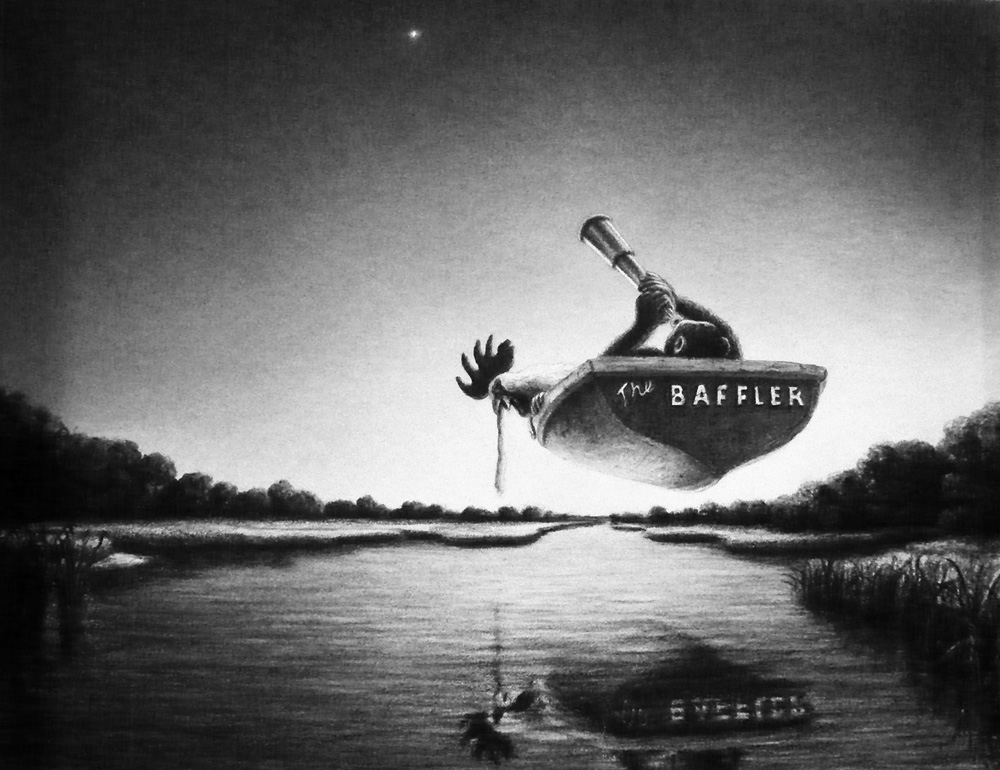 The Baffler  from the series Hover , 2009 Charcoal and pastel on paper 10.25 x13.25inches