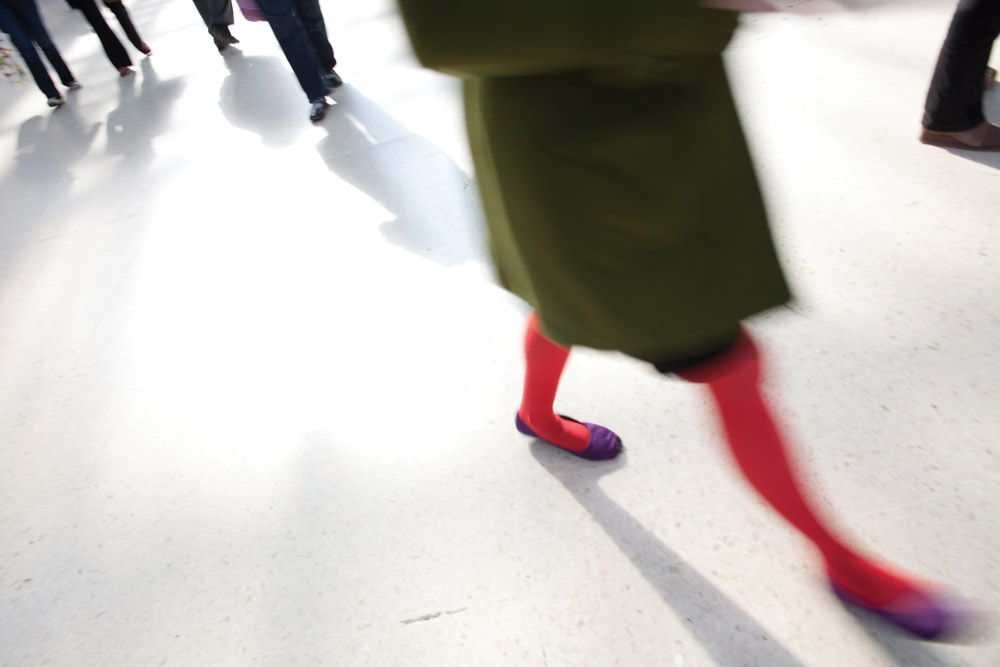 Untitled (Green coat red legs), from the series Murmuration , 2010 Archival pigment print on Professional Satin Paper 5.5 x 23 inches