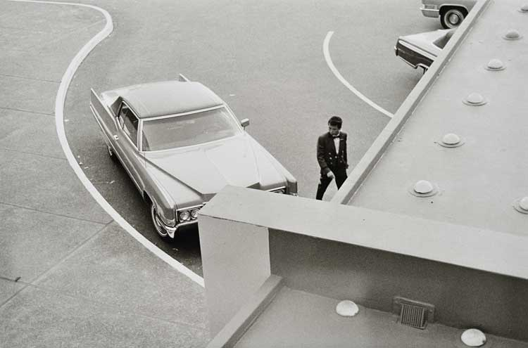 Untitled (Car and valet from above), 1960-1972 Gelatin Silver Print 16 x 20inches