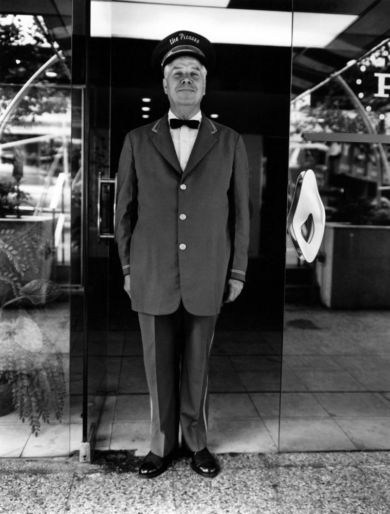 "Doorman , ""The Picasso,"" New York, 1964 Silver Gelatin Print 20 x 16 inch"