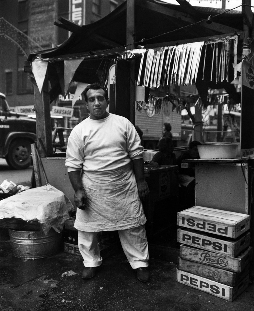 Hot Dog Stand , Little Italy, New York, 1963 Silver Gelatin Print 20 x 16 inch