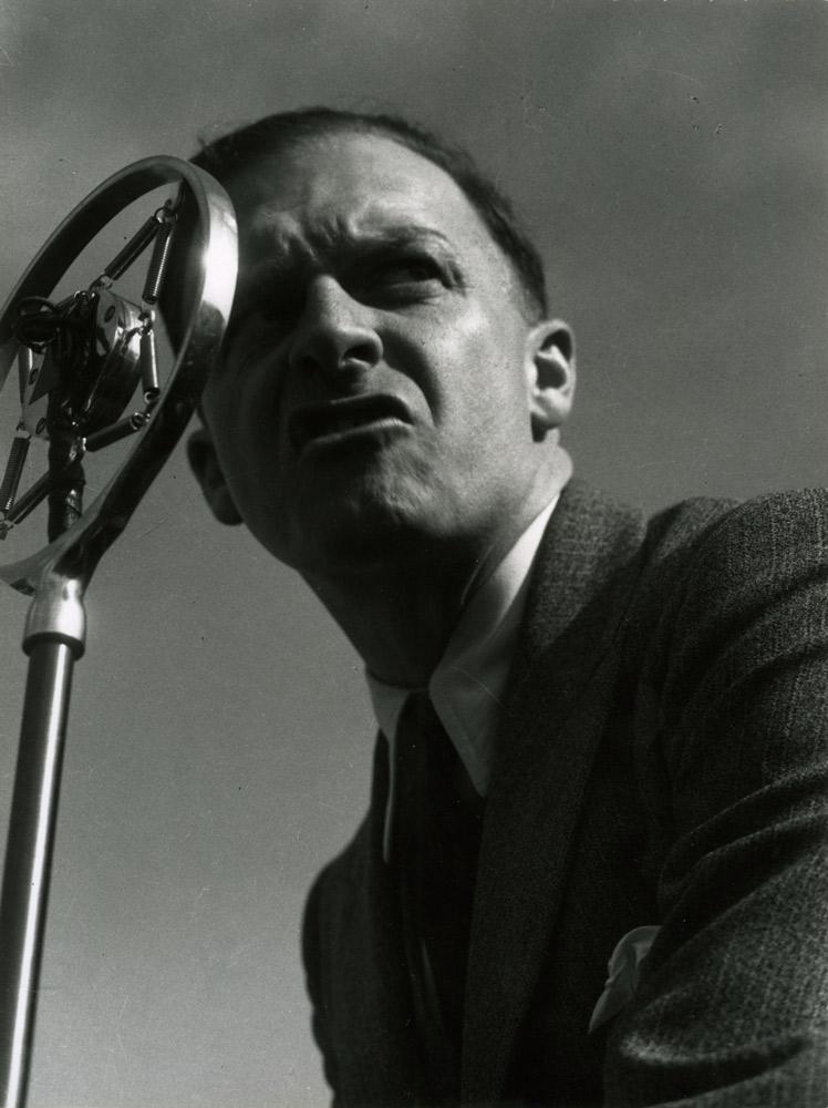 Man at Microphone ,  May Day Demonstration, San Francisco,  1934