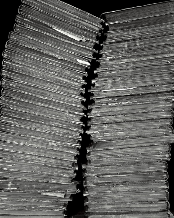 Two Stacks of Bound Newspaper, 2001