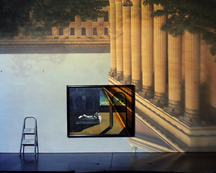 Camera Obscura: The Philadelphia Museum of Art East Entrance in Gallery with a de Chirico Painting, 2005