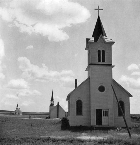 Three Churches of the High Plains, Near Winner, South Dakota, 1938