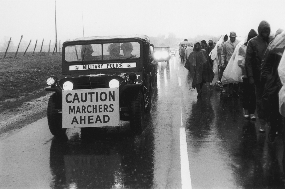 Bruce Davidson , Untitled , (MP caution marchers ahead), from Time of Change , 1961-65