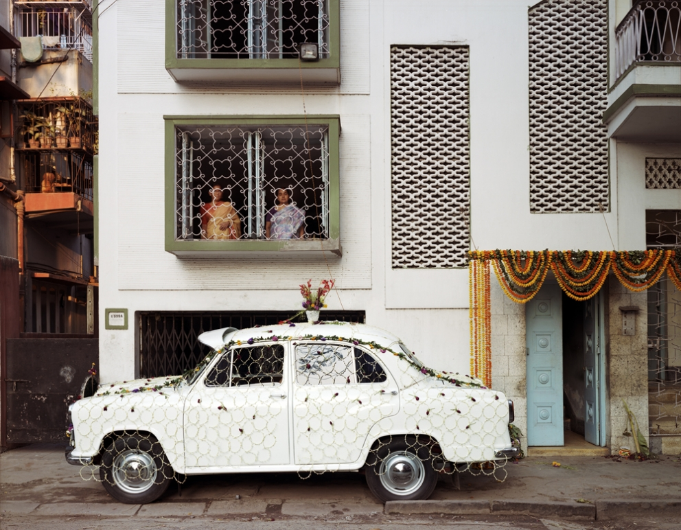 Ambassador Car Decorated for a Wedding by a Net Strung with Fresh Flowers, South Kolkata, 1998