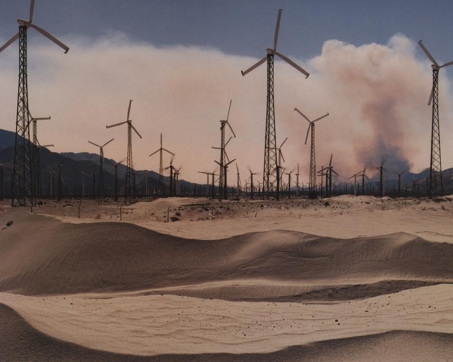 Windmills and Brushfire, Coachella Valley, CA , 1995