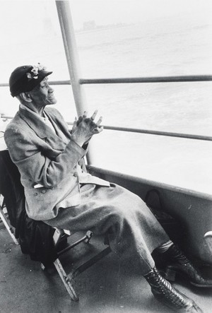 """Bruce Davidson, """"Untitled (Elderly Woman, Staten Island Ferry)"""" from """"Time of Change"""", 1962. Printed later gelatin silver print. Fine Arts Museums of San Francisco, Michael and Joyce Axelrod Collection. © Bruce Davidson/Howard Greenberg Gallery"""