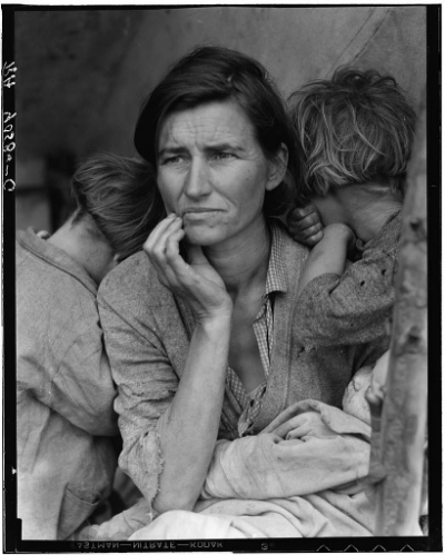 "March 1936: Portrait of Florence Owens Thompson known as ""Migrant Mother"" taken in Nipomo, Calif., by Dorothea Lange. This is the retouched version."