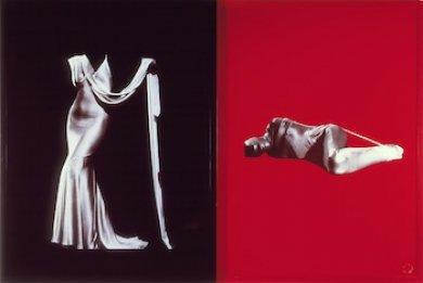 Sarah Charlesworth, Figures , 1983, 2 silver dye-bleach prints, Gift of the Frederick R. Weisman Art Foundation, © Sarah Charlesworth
