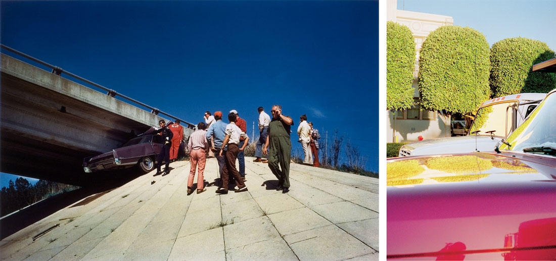 Left: William Eggleston, Untitled (Car Wreck) [From The Seventies: Volume two] (Circa 1970) Right:William Eggleston, Untitled (Topiary Trees, Hollywood) (1999 - 2000)