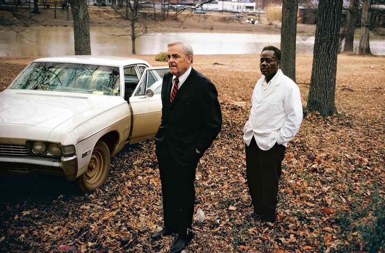 Untitled , 1969–70, the artist's uncle, Ayden Schuyler senior, with Jasper Staples, in Cassidy Bayou, Summer, Mississippi. Photograph: ©Eggleston Artistic Trust