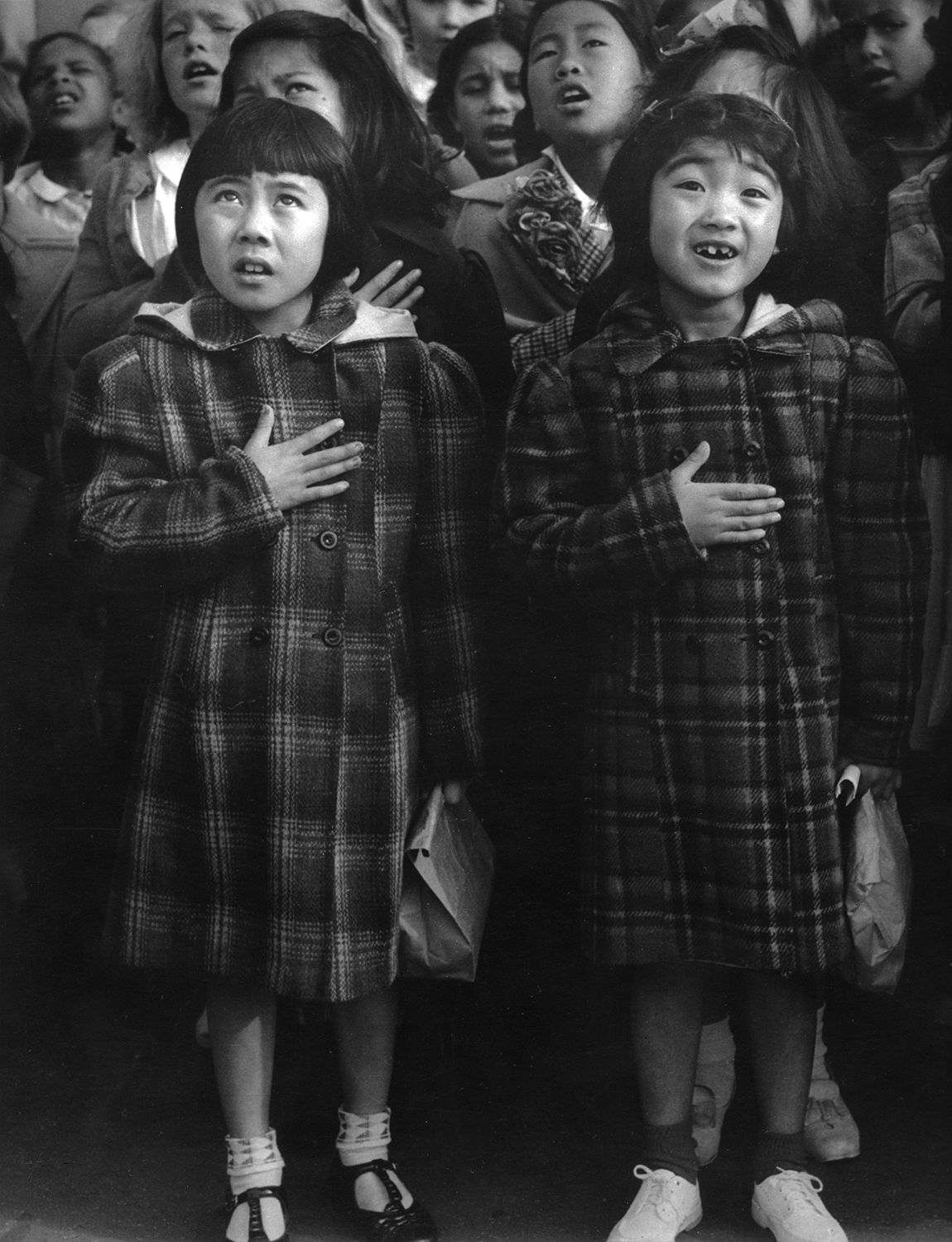 "Dorothea Lange  One Nation Indivisble, San Francisco, CA,  1942   ""Rafael Weill Elementary School, San Francisco.  Two days before the Army evacuated all persons of Japanese ancestry from the Pacific Coast."" 14 x 11 inches Gelatin Silver Print"