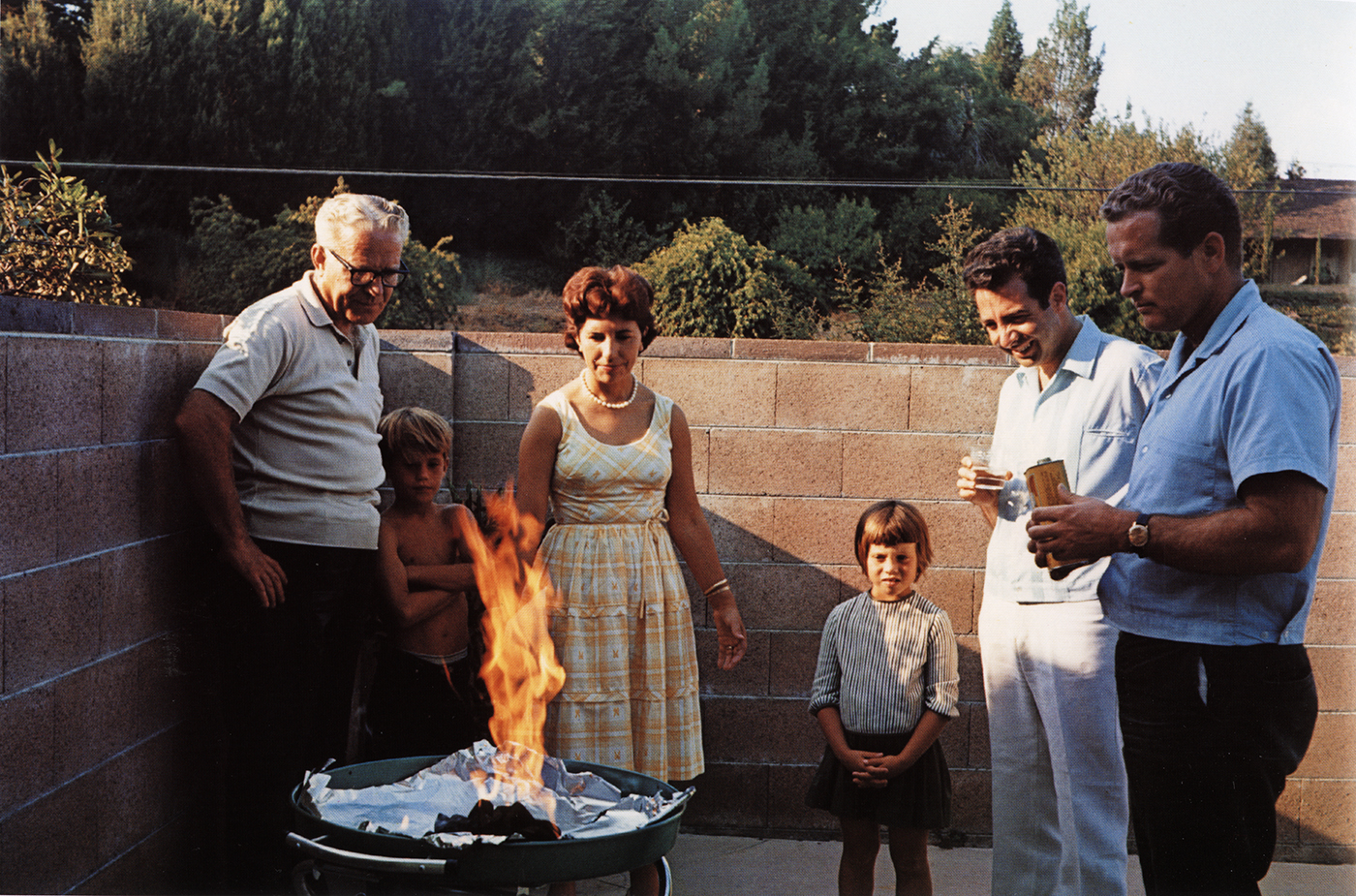 Guy Stricherz  Americans in Kodachrome 1945-1965   Flaming Barbeque, Tarzana, California,  1965  Photographer: Andrea Katres  16 x 20 inches Dye Transfer Print