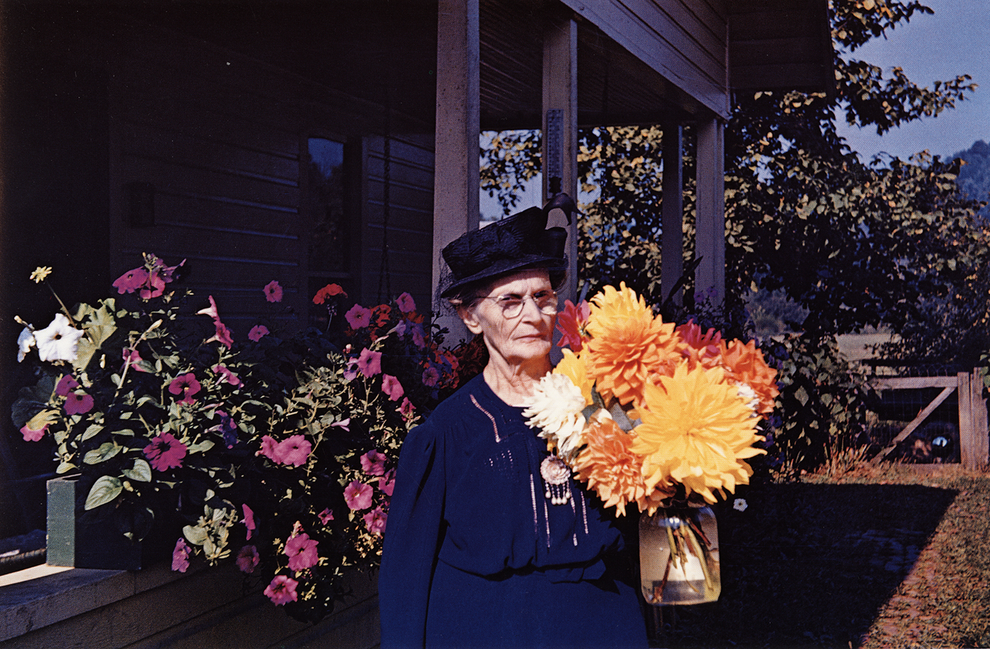 Guy Stricherz  Americans in Kodachrome 1945-1965  Dahlias for Church, Fraziers Bottom, West Virginia,  1946  Photographer: Harold H. Frazier  16 x 20 inches Dye Transfer Print