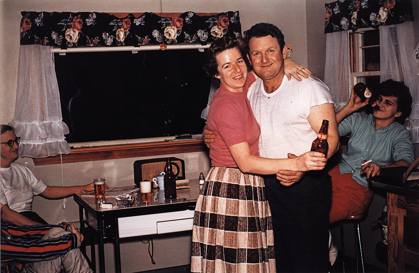 Guy Stricherz Americans in Kodachrome 1945-1965  Dancing in the Kitchen, Preston, Connecticut,  c. 1955  Photographer: Stella and Chester Drong  16 x 20 inches Dye Transfer Print